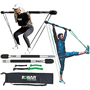 R3BAR AlphaPro Full Portable Exercise Home Gym Workout Training Equipment– Includes Bar, Resistance Bands, Travel Bag – New Bonus – One Month Free Training On Demand Video Subscription
