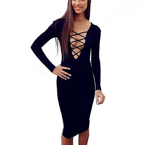 HLBandage Women Cross Long Sleeve Stretch Bandage Dress Negro