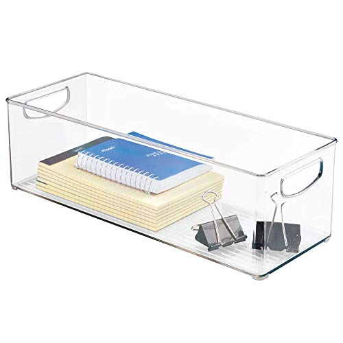 mDesign Large Stackable Plastic Storage Bin Container, Home Office Desk and Drawer Organizer Tote with Handles - Holds Gel Pens, Erasers, Tape, Pens, Pencils, Markers - 16'' Long, 8 Pack - Clear by mDesign (Image #8)