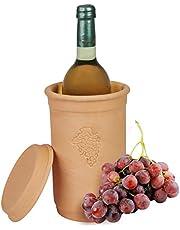 MamboCat Wijnkoeler + onderzetter, diameter 12,5 cm, hoogte 20,5 cm, flessenkoeler voor water, wijn en champagne, terracotta, koelt urenlang