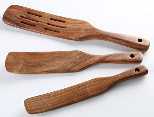 As Seen on TV,Wooden Spurtles Set of 3, Non-Stick Utensils Tools Durable Natural Teak Slotted Stirring Spatula Kitchen Cookware for Serving and Cooking