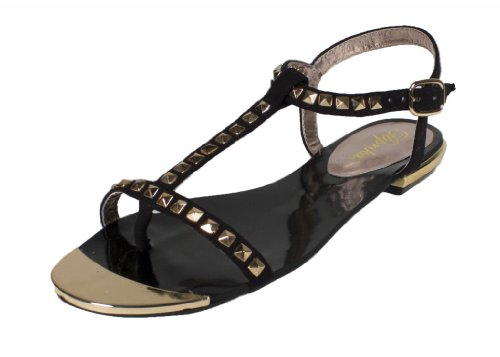 Ramada  By Paprika Cute And Fun Metal Square Studded Open Toe Flat Sandals  Black Faux Suede  5 5 M