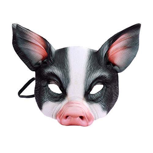 Unisex Halloween Scary Mardi Gras Half Face Pig Mask, Horrible Latex Animal Face Mask Masquerade Costume Cosplay, Tricky Toys (Black) -
