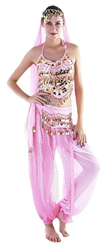 Seawhisper India Belly Dancer Costume Pink Genie Outfits for Women ()