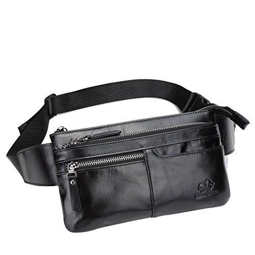 BISON DENIM Leather Waist Pack Fanny Pack Men