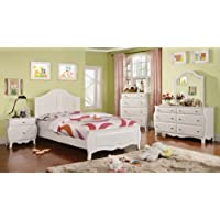 4 pc Roxana white finish wood crown top style headboard Twin childrens bedroom set