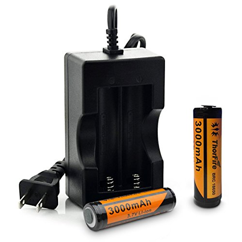 ThorFire 2pcs 18650 Battery and Charger for LED...