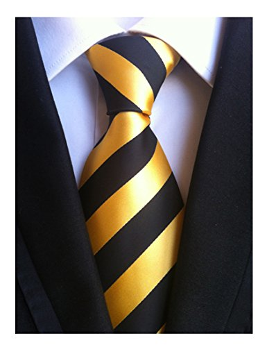 MENDENG New Men Large Striped Gold Black Jaquard Woven Silk Necktie Business Tie