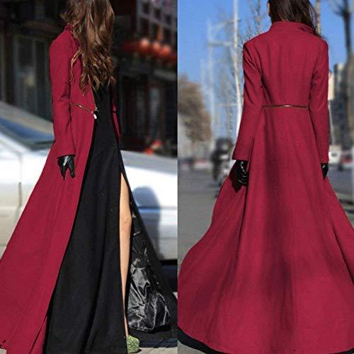 Sottile Lana Libero Rot Colore Fashion Cerniera Donna Tempo Autunno Cappotto Maniche Con Lunghe Lunghi Grazioso Elegante Classiche Puro Taglie Trench Primaverile Di Transizione Forti qZOPAwgH