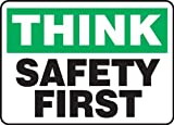 "Accuform Signs MGNF940VP Plastic Safety Sign, Legend ""THINK SAFETY FIRST"", 10"" Length x 14"" Width x 0.055"" Thickness, Green/Black on White"