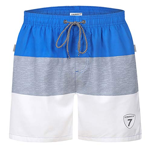 d80c0ec81d LANYI Mens Swim Trunks Swimming Beach Shorts Surfing Board Shorts Swimwear  Quick Dry Mesh Lining Bathing Suits with Pockets (Blue & Grey, S)