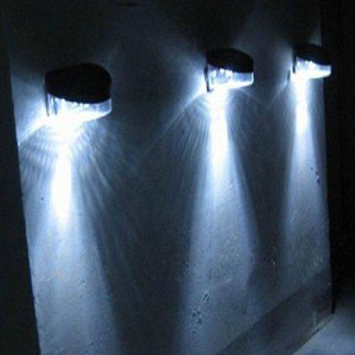Pooqdo Newest Solar Powered Wall Mount 2 LEDOutdoor Landscape Garden Lamp