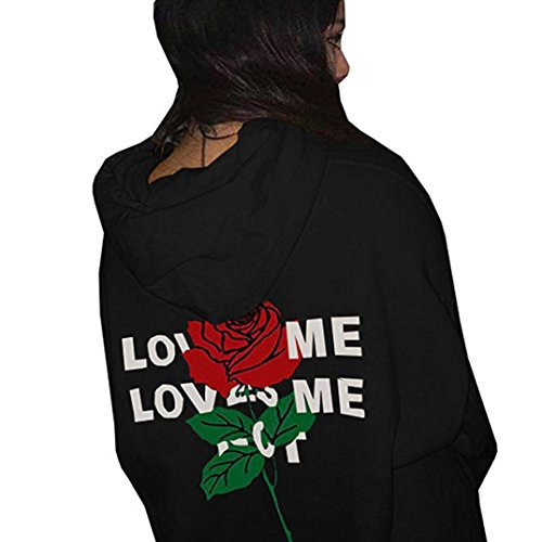 Han Shi Blouse, Love Rose Print Hoodies for Womens Letter Printing Hooded Sweatshirts (S, Black)