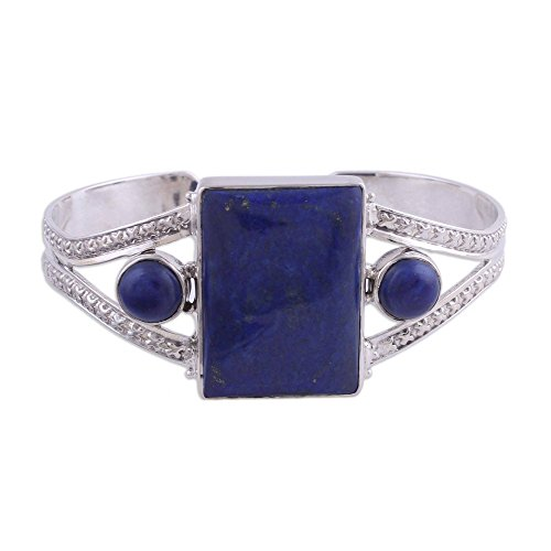 - NOVICA Lapis Lazuli .925 Sterling Silver Cuff Bracelet 'Crisscross Magic'
