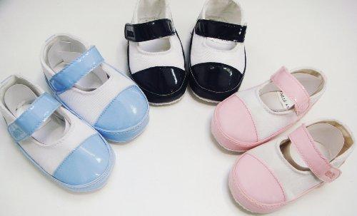Zapatos mi-vernies bebé niña blanco/cielo 3/6mois