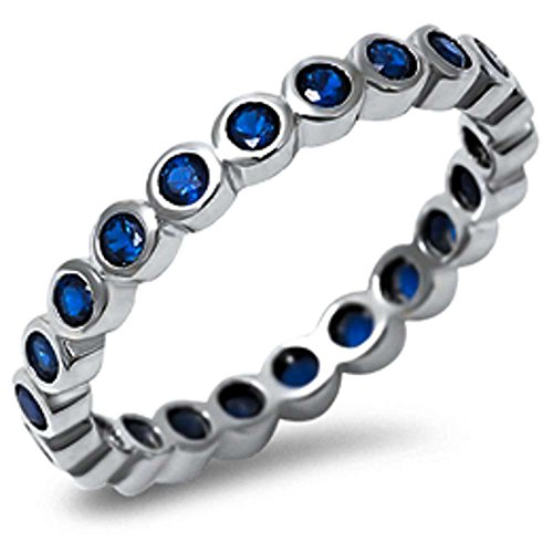 Simulated Blue Sapphire Eternity Band .925 Sterling Silver Ring Sizes 4-10 (8)
