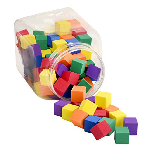 Premium Joy Foam Counting Color Cubes for Kids - Size of 1 Inch - Set of 120 Pieces - Made in Taiwan from Quality Foam - Soft Stacking Toy Blocks for Math and School