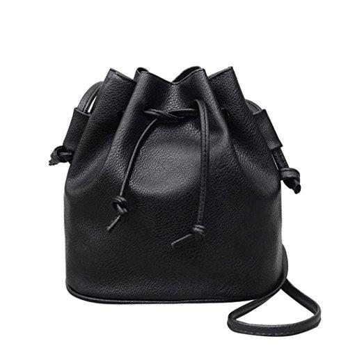 Fashion Women Drawstring Bucket Leather Pure color Shoulder Bag Messenger Bag Purse Satchel, LLguz Elegant Girls Handbag Crossbody Bag (Black)