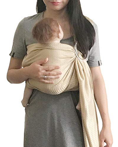 ng Sling Carrier | Lightweight Breathable Mesh Baby Wrap for Infant, Newborn, Kids and Toddlers | Perfect for Summer, Swimming, Pool, Beach | Great for Dad too Champagne ()