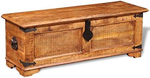 vidaXL Solid Mango Wood Rustic Storage Chest Trunk Handmade Coffee Stand Table