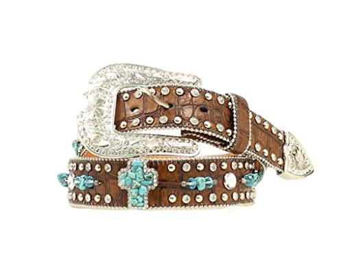 Nocona Women's Turquoise-Hue Stone Cross And Croc Print Leather Belt Brown Small