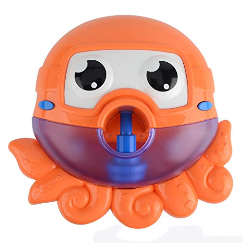 Binory Automatic Big Octopus Bubble Machine with 12 Nursery Rhyme for Summer Bath Toys,Creative Bubble Maker Bathtub Toys for Toddlers Baby,Enjoy Outdoor & Indoor Happy Tub Time,Birthday Gift(Orange) ()
