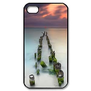 Yearinspace Art bridge in the forest iPhone 4/4s Cases Broken Bridge For Teen Girls, Iphone 4s Case Women, {Black}