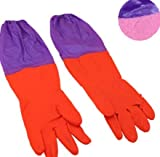 Blue Stones Household Long Rubber Goves Soft Warm Protect Hands Waterproof Latex Gardening Cleaning Dish Washing Gloves 1 Pair Kitchen Glove