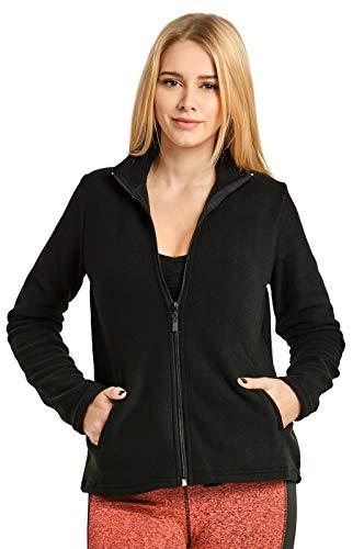 ET TU Women's Zip Up Polar Fleece Jacket (S, Black)