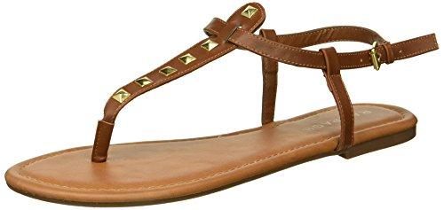 Rampage Women's Pashmina Flat Sandal, Cognac/Gold Studs, 8 M US ()
