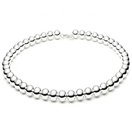Beaded Necklace Shiny High Polished Ball Bead 925 Sterling Silver Choose Bead & Length (10mm Sterling Silver Bead Necklace)