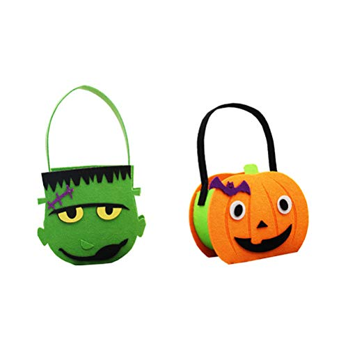 AMOSFUN Happy Halloween Felt Cloth Candy Bag Trick or Treat Kids Halloween Bag Goodies Handbag Party Gift Bag for Kids or Costume Party Favors Party Decoration Props 2pcs]()