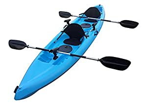 Brooklyn Kayak Company BKC UH-TK181 12-foot 5-inch Sit On Top Tandem 2 Person Fishing Kayak with Paddles, Seats, and 7 Fishing Rod Holders included