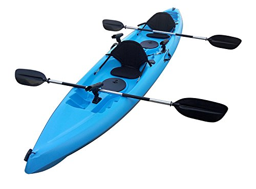 BKC UH-TK181 12.5 foot Grey Camo Sit On Top Tandem Fishing Kayak Paddles and Seats included