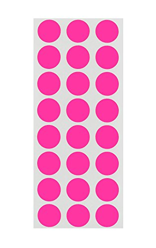 ChromaLabel 1/2 inch Removable Color-Code Dot Labels on Sheets | 1,200/Pack (Fluorescent Pink)