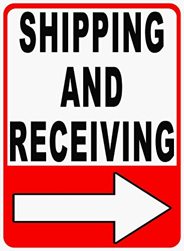 Shipping and Receiving Sign. Right Arrow. 18x24 Metal Warehouse Ship Receive Loading Dock
