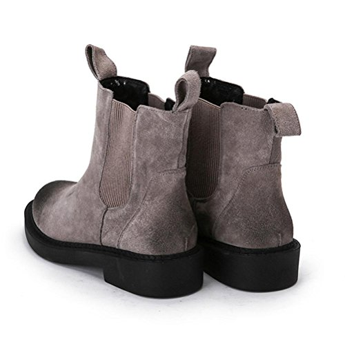 boots NSXZ Winter GRAY 90160CM flat leather shoes elastic ankle nx4qwfC6