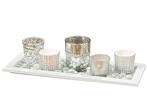 White Nights Wind Lights, Centerpiece Set of 7, 5 Glass Tealight Candle Holders, 1 Glass Pebble Pack and 1 Wood Tray, Shimmery Silver and Reflective Rhinestones, 14 1/2 Inches Long