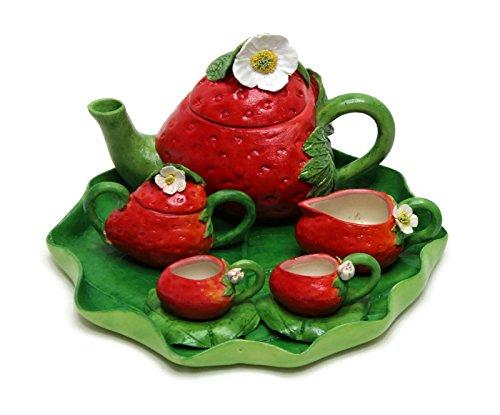 Fairy Air - Unique Design Porcelain Miniature Strawberry Fruit Tea Set Mini Home Fairy Garden Figurine Dollhouse Kitchen Decor Accessories Tillandsia Air Plant Succulent Pot Planter Collectible Item.(Strawberry)