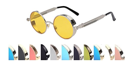 Steampunk Fashion Sunglasses NYC (Silver & Yellow, - Glasses Nyc