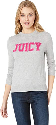 Juicy Couture Women's Flocked Logo Sweater Heather Cozy Medium