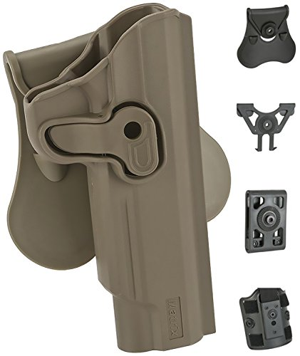 Evike Matrix Hardshell Adjustable Holster - 1911 Series Airsoft Pistols - FDE - Paddle - Right-H - (62427)
