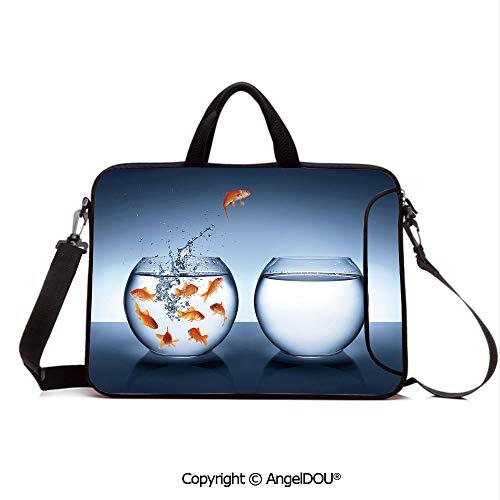AngelDOU Laptop Sleeve Notebook Bag Case Messenger Shoulder Laptop Bag Little Brave Goldfish Jumping One Fishbowl to Another Courage Improvement Decora Compatible with MacBook HP Dell Lenovo Dark Bl