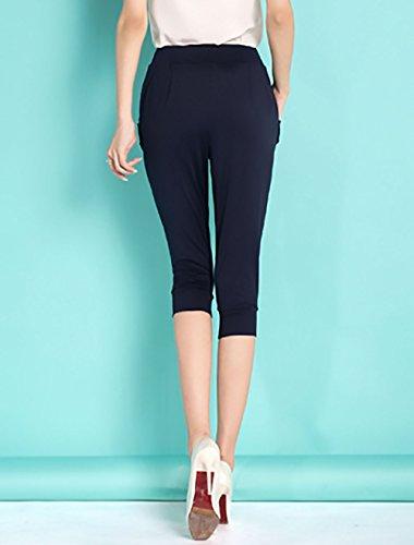 Ragazza Blu Taglie Comode Elastico Colore Forti Vita Baggy Alta Pantaloni Donna Bermuda Con Harem Pantalone Casual Puro Abbigliamento 8xqzqafw