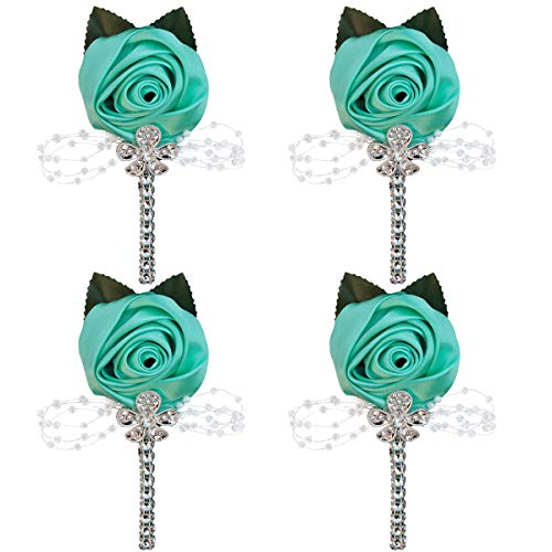 WIFELAI-A Satin Flower Lapel Pin with Diamond Wedding Boutonniere Handmade Wedding Brooch Buttonhole Grooms Boutonnieres XH0677Y (Mint Green, 4)