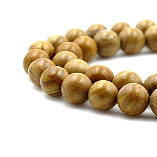 jennysun2010 Natural Woodgrain Jasper Gemstone 12mm Smooth Round Loose 30pcs Beads 1 Strand for Bracelet Necklace Earrings Jewelry Making Crafts Design Healing