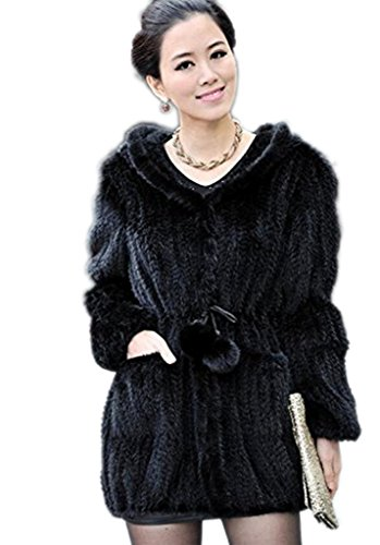 YR Lover New Women's Real Knitted Mink Fur Coat Hooder Jacket US8 ()