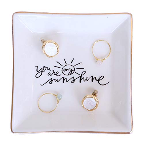 PUDDING CABIN You are My Sunshine - Ring Dish for Daughter Wife Girlfriend Gift Meaningful Gifts for Birthday Christmas Valentine's Day