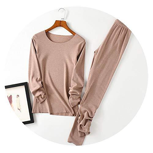 Thermal Underwear Set Heating Fiber Cotton Plus Velvet Thickening Long-Sleeved Winter Warm,Khaki,XXL
