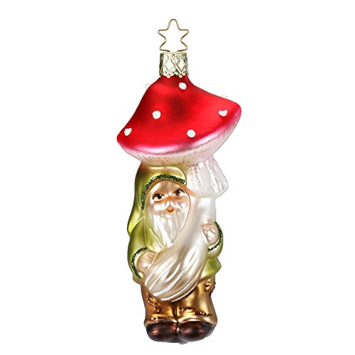 Inge-Glas Luck be With You Mushroom Gnome 10133S018 German Blown Glass Christmas Ornament